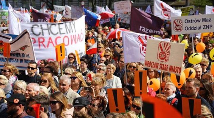 акции протеста польских учителей против новой реформы
