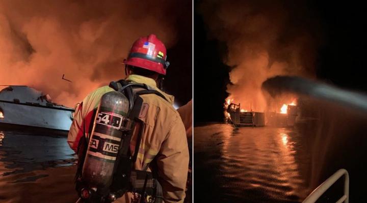 горящая лодка