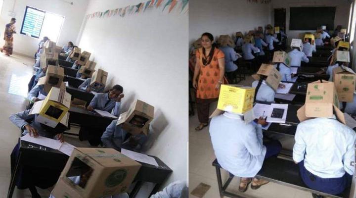 экзамен с картонными коробками на головах