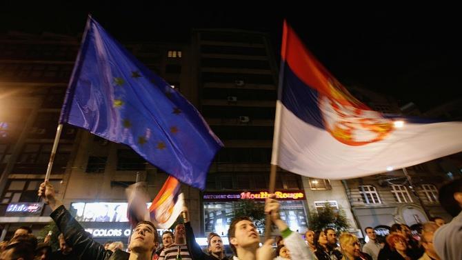 вчера вечером протесты в Белграде прошли мирно