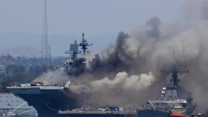 пожежа на американському десантному кораблі