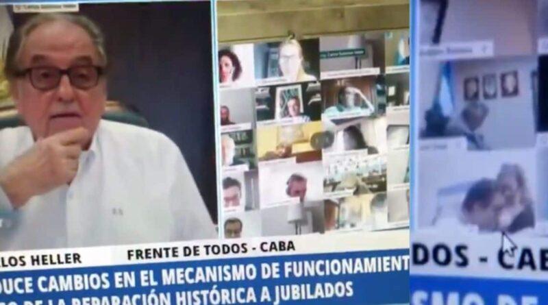 во время видеоконференции депутат целует грудь жены
