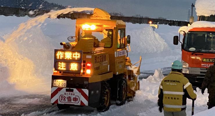 аварии из-за снегопада в Японии